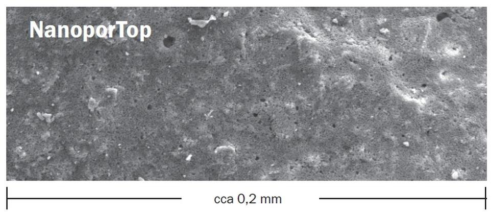 Štruktúra Nanopor omietky pod mikroskopom